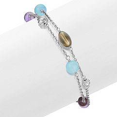 Sea Blue Agate, Amethyst, Smoky Quartz and Garnet Bracelet in Sterling Silver (7.5)