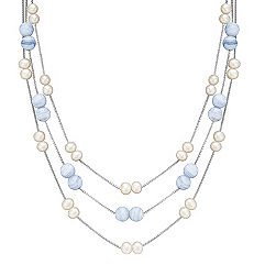 5mm Cultured Freshwater Pearl and Blue Lace Agate Layered Necklace in Sterling Silver (18 in.)