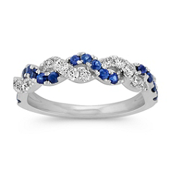 Round Sapphire and Diamond Braided Ring