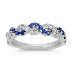 Round Sapphire and Diamond Braided Ring
