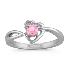 Pink Sapphire Heart Ring in Sterling Silver