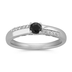 Black Sapphire and Diamond Accented Ring in Sterling Silver