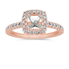 Pave Set Halo Engagement Ring in Rose Gold