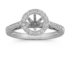 Vintage Side Swirl Halo Engagement Ring with Pave Setting