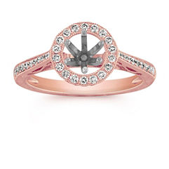 Vintage Side Swirl Halo Engagement Ring with Pave Setting in Rose Gold