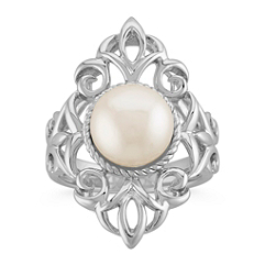 Vintage 9mm Cultured Freshwater Pearl Ring in Sterling Silver