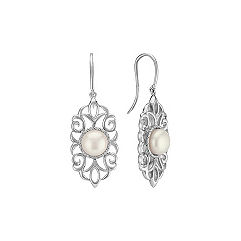 Lacy Freshwater Pearl Dangle Earrings in Sterling Silver
