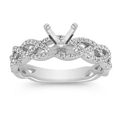 Infinity Twist Diamond Engagement Ring with Pavé Setting
