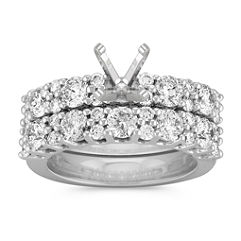 Alternating Round Diamond Wedding Set