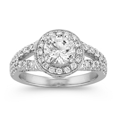 Halo and Split Shank Round Diamond Ring