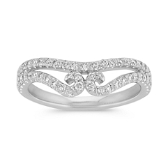 Tiara Round Diamond Contour Wedding Band