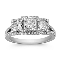 Princess Cut Three-Stone and Round Diamond Ring with Split Shank