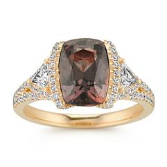 Cushion Cut Cognac Sapphire, Trillion and Round Diamond Fashion Ring