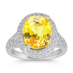 Oval Yellow Sapphire and Round Diamond Halo Fashion Ring