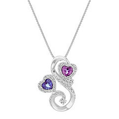 Double Heart Shaped Sapphire and Diamond Swirl Pendant (18 in.)
