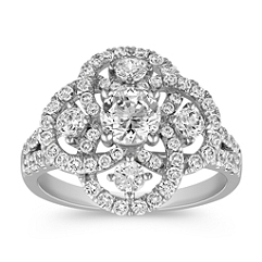 Swirling Round Diamond Fashion Ring