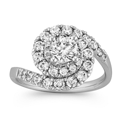 Swirl to Halo Diamond Ring
