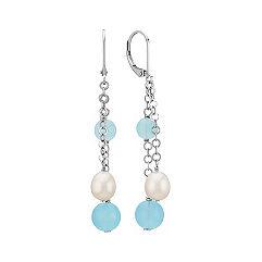6-8mm Sea Blue Agate and Cultured Freshwater Pearl Earrings