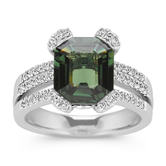 Emerald Cut Green Sapphire and Round Diamond Fashion Ring