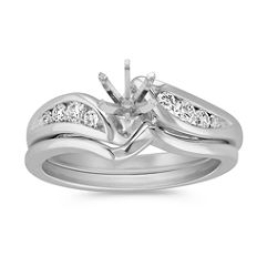 Eight Stone Swirl Diamond Wedding Set