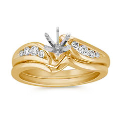 Eight Stone Swirl Diamond Wedding Set with Channel Setting