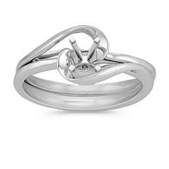Swirl Solitaire Wedding Set in 14k White Gold