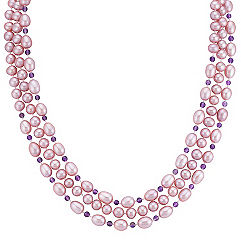 6mm Lavender Cultured Freshwater Pearl and Amethyst Strand (65 in.)
