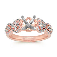 Round Diamond Pavé-Set Engagement Ring in 14k Rose Gold