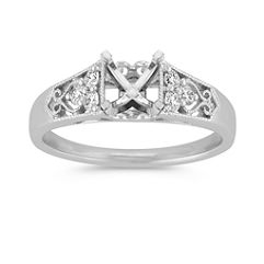 Vintage Trio Accent Diamond Engagement Ring