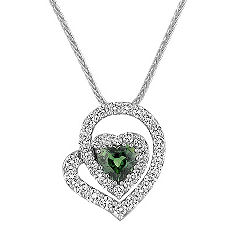 Heart-Shaped Green Sapphire and Diamond Pendant (22 in.)