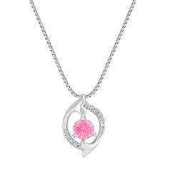 Round Pink Sapphire and Round Diamond Pendant (18 in.)