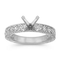 Top and Side Round Diamond Engagement Ring with Pave Setting