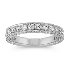 Top and Side Round Diamond Wedding Band with Pave Setting