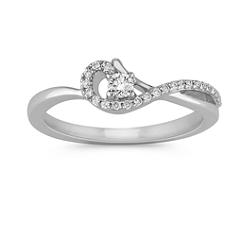 Crossing Swirl Round Diamond Ring in Sterling Silver