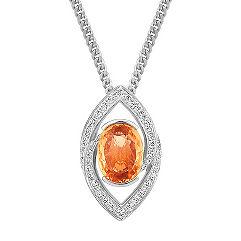 Oval Orange Sapphire and Diamond Pendant (18)