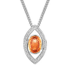 Oval Orange Sapphire and Diamond Pendant (18 in.)