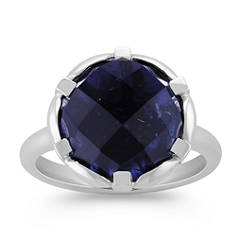 Round Iolite Ring in Sterling Silver