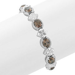 Oval Smoky Quartz and Sterling Silver Vintage Bracelet (7 in.)