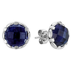 Round Iolite and Sterling Silver Earrings