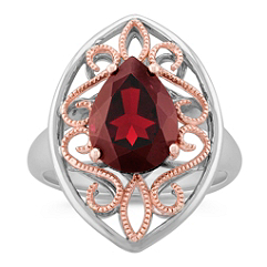 Pear Shaped Garnet Ring in 14k Rose Gold and Sterling Silver