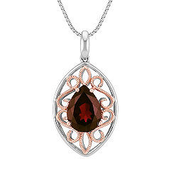 Pear Shape Garnet Pendant in 14k Rose Gold and Sterling Silver