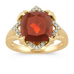 Cushion Cut Garnet and Round Diamond Ring in 14k Yellow Gold