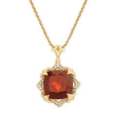 Cushion Cut Garnet and Round Diamond Pendant in 14k Yellow Gold