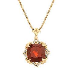 Cushion Cut Garnet and Round Diamond Pendant in 14k Yellow Gold
