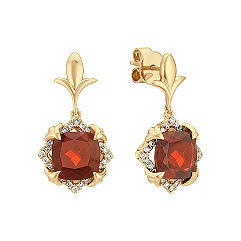Cushion Cut Garnet and Round Diamond Earrings in 14k Yellow Gold