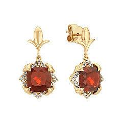 Cushion Cut Garnet and Round Diamond Earrings in 14k Yellow Gold