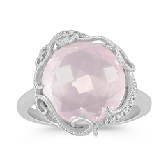 Vintage Rose Quartz and Diamond Ring in Sterling Silver