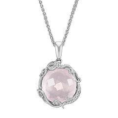Vintage Round Rose Quartz and Diamond Pendant (24 in.)