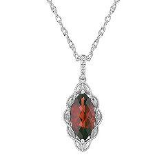 Marquise Garnet and Round Diamond Pendant (20 in.)