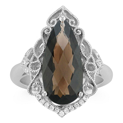 Vintage Pear Shaped Smoky Quartz and Round Diamond Ring